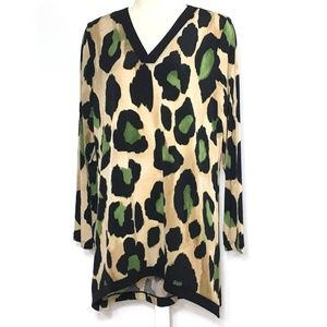 Susan Graver Tunic Top Blouse Cheetah Leopard M